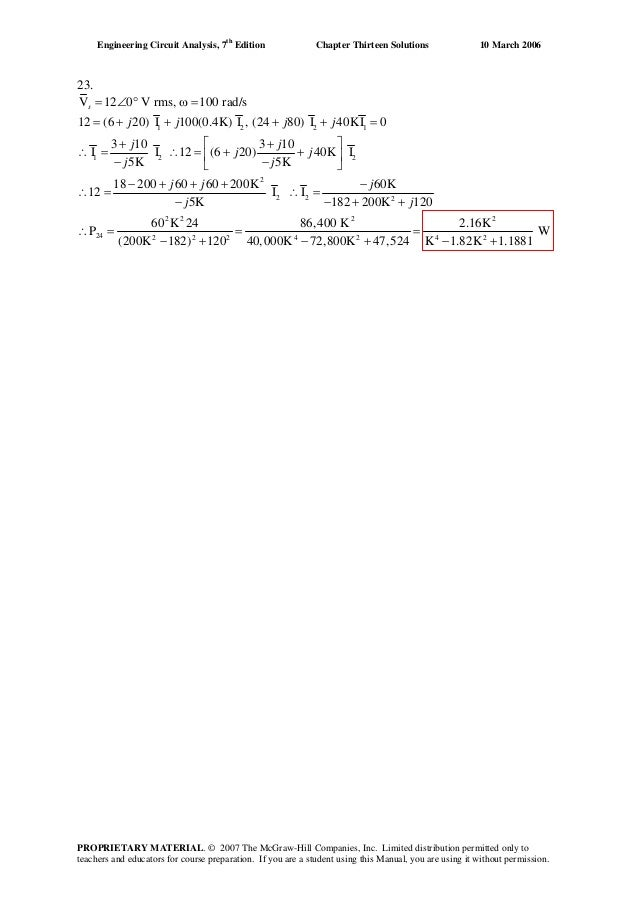 engineering circuit analysis 7th edition solution manual chapter 12