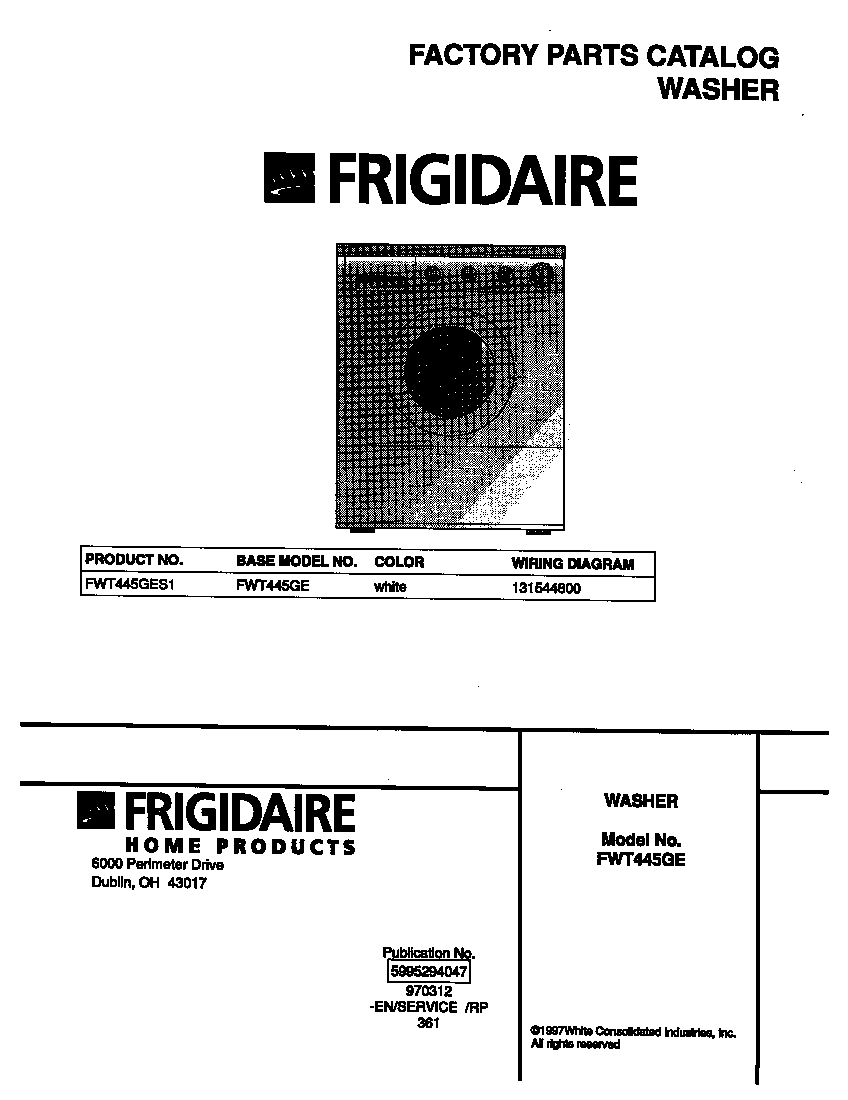 parts manual for frigidaire washer
